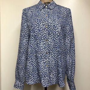 Juicy Couture Mini Blue Leopard Print Button Down